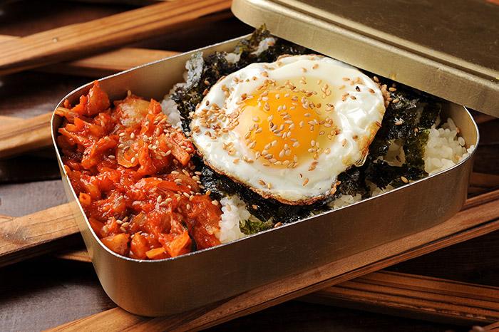 korean dosirak with kimchi