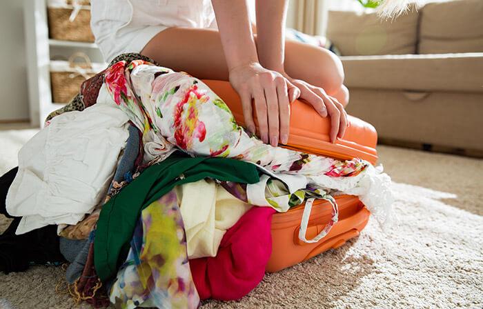 overflowing luggage bag