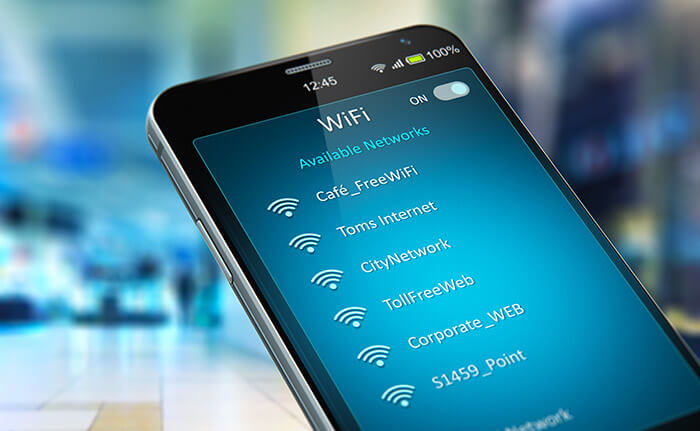 smartphone with list of WiFi network
