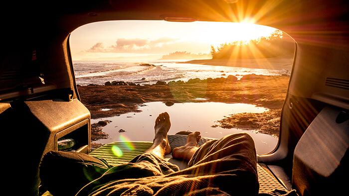 man enjoying sunrise