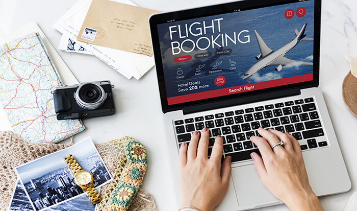woman booking flight