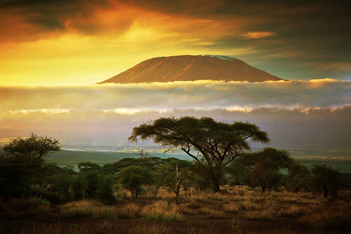 Mount Kilimanjaro and clouds line at sunset