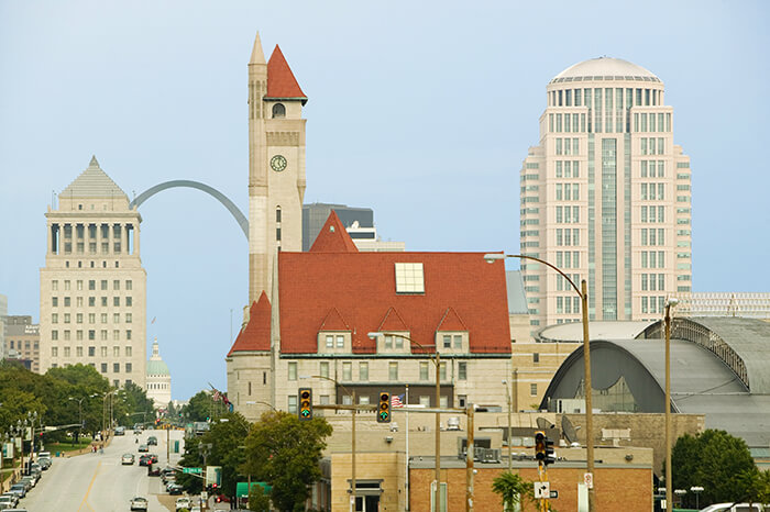 St. Louis skyline down Market Street