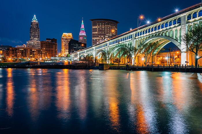 Detroit-Superior Bridge at night