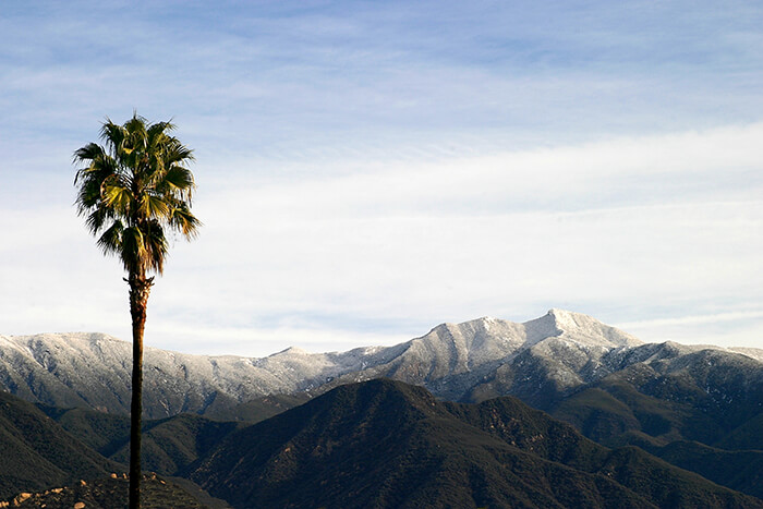 Ojai valley with snow on the mountains