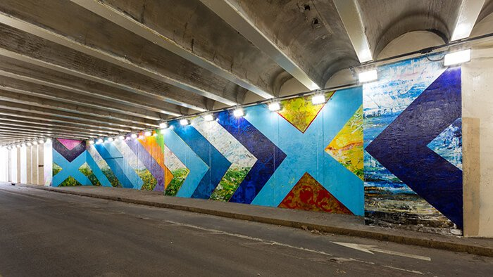 Ben Franklin Bridge Pedestrian Tunnel Mural